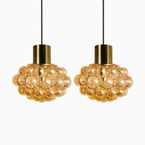 Amber Bubble Glass Pendant Lamps by Helena Tynell, 1960, Set of 2