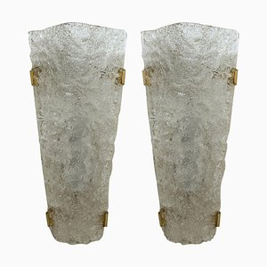 Textured Murano Glass Sconces or Wall Lights, 1960s, Set of 2