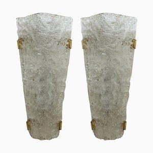 Texturierte Wand- oder Wandlampen aus Muranoglas, 1960er, 2er Set