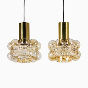 Bubble Glass Pendant Lamps by Helena Tynell for Limburg, 1960s, Set of 2