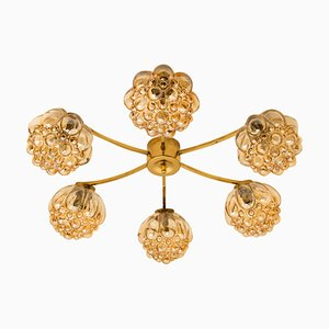 Large Amber Bubble Glass Chandelier by Helena Tynell for Limburg, 1960s
