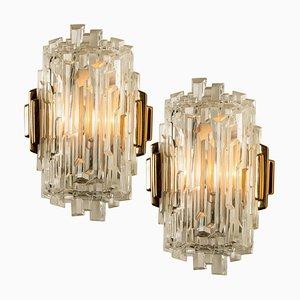 Eiszapfen Glas Wandlampen, 1960er, 2er Set