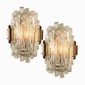Icicle Glass Wall Sconce Lights, 1960s, Set of 2