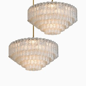 Large Ballroom Chandelier Flush Mount with 130 Blown Glass Tubes from Doria