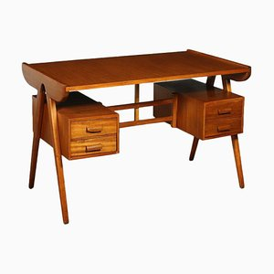 Stained Beech & Mahogany Veneer Writing Desk, Italy, 1950s