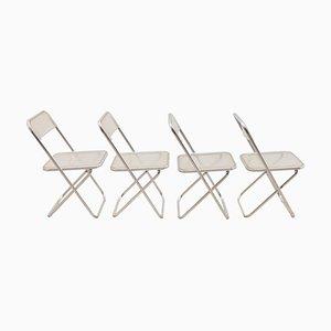 Chaises Plia en Lucite dans le Style de Giancarlo Pirettis, 1970s, Set de 4