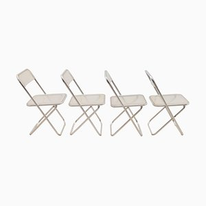 Lucite Plia Chairs in the Style of Giancarlo Pirettis, 1970s, Set of 4