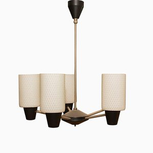 Mid-Century Pendant with 5 Pipe Glass Lampshades, 1960s