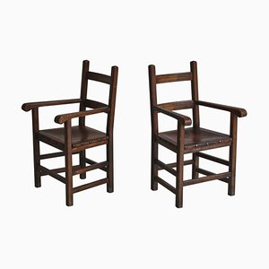 Arts and Crafts Armchairs in Oak and Leather, Set of 2