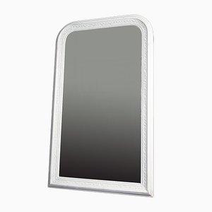 Large Brocante Biedermeier Style Mirror in White