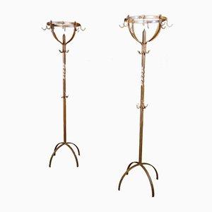 Brocante Wrought Iron Standing Coat Racks, 1920s, Set of 2