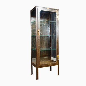 Industrial Iron Doctors Display Cabinet with Patina
