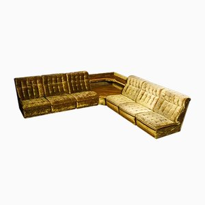 Vintage Modular Velvet Corner Sofa in Green, 1970s