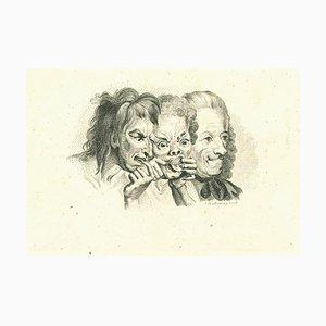 Thomas Holloway, Drei Groteske Figuren, Original Radierung, 1810