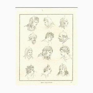 Thomas Holloway, Heads of Men and Women, Original Etching, 1810