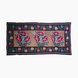 Large Romanian Brown Wool Floral Rug