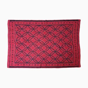 Romanian Wool Handwoven Rug in Red and Black