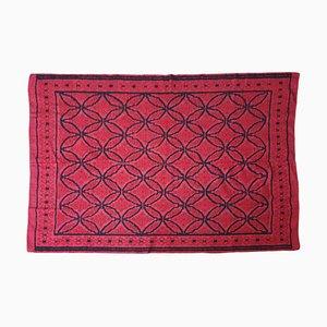 Rumänischer Handgewebter Wollteppich in Rot und Schwarz