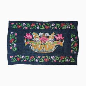 Vintage Wollteppich mit Blumenmuster