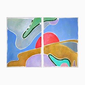 Avocado Field Sky, abstraktes Landschaftsdiptychon, 2021