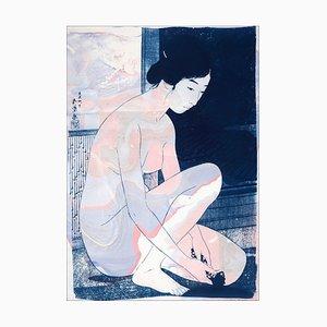 Marbled Ukiyo-E of Nude Figure Inspired by Hashiguchi Goyo, 2021