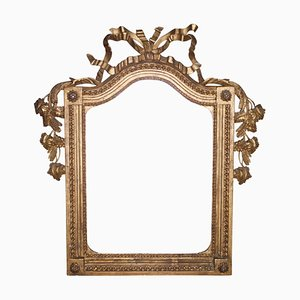 Neoclassical Regency Style Gold Foil & Hand-Carved Wood Mirror, 1970s