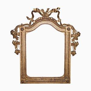 Neoklassizistischer Spiegel im Regency Stil mit Rahmen aus Goldfolie & handgeschnitztem Holz, 1970er