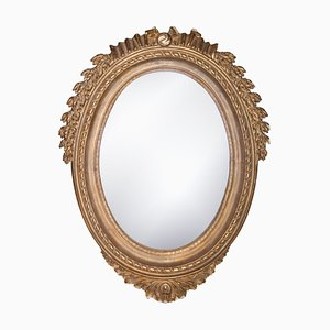 Neoclassical Regency Style Acanthus Mirror in Gold Foil & Hand-Carved Wood, 1970s