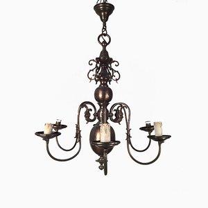 Lampadario vintage in bronzo ed ottone, anni '20