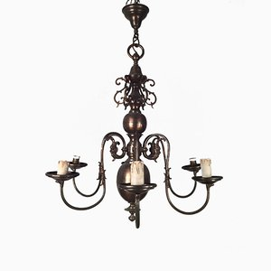 Vintage Bronze & Brass Chandelier, 1920s