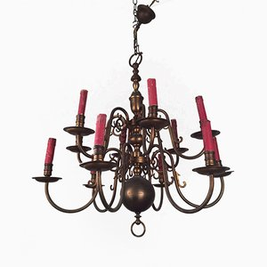 Bronze Chandelier with Red Candles, 1940s