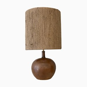Belgian Mid-Century Modern Brown Ceramic Lamp with New Rope Lampshade, 1960s
