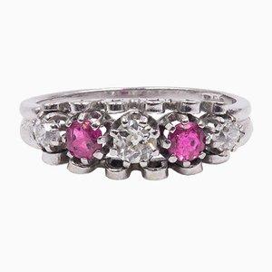 Vintage 14K Weißgold Ring mit Diamanten und Rubinen