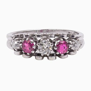 Vintage 14K White Gold Ring with Diamonds and Rubies