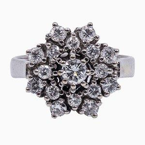 Vintage 14K White Gold & Diamond Flower Ring, 1960s