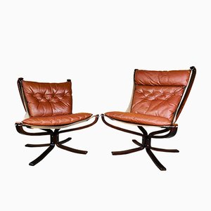 Vintage Leather Lowback and Highback Falcon Chairs by Sigurd Resell, Set of 2