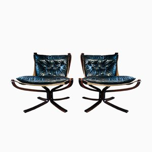Vintage Leather Lowback Falcon Chairs by Sigurd Resell, Set of 2