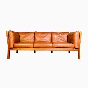 Mid-Century Danish 3-Person Sofa in Cognac Leather by Andreas Hansen