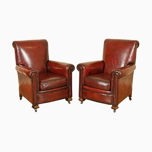 Victorian Hand-Dyed Leather Gentleman's Club Armchairs, Set of 2
