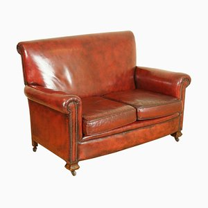 Victorian Hand-Dyed Burgundy Leather Gentleman's Club Sofa