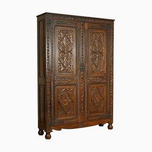 Carved Oak Estate Housekeeper's Cabinet
