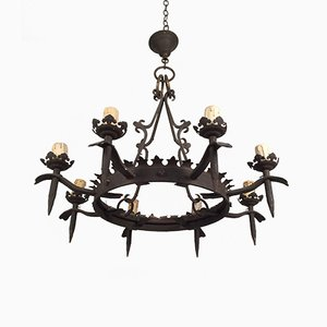 Gothic Wrought Iron 8-Arm Chandelier, 1940s