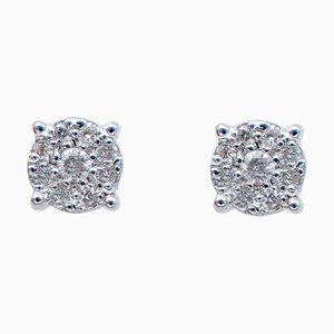 Diamond & 18 Karat White Gold Magic Stud Earrings, Set of 2