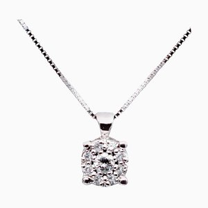 Diamond & 18 Karat White Gold Light Point Pendant Necklace