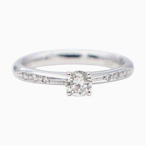 0.40 Carat White Diamond & 18 Karat White Gold Solitaire Engagement Ring