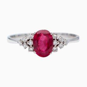1.12 Carat Ruby, White Diamond & 18 Karat White Gold Engagement Ring