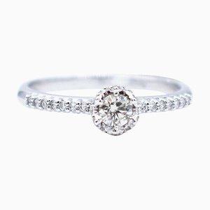 White Diamond & 18 Karat White Gold Solitaire Engagement Ring