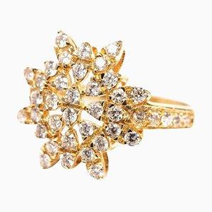 Sonnenförmiger Cocktail Ring mit 0,94 Karat Diamant Cluster