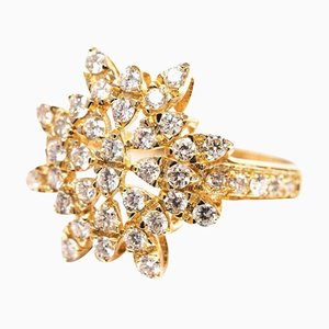 Sun Shaped Cocktail Ring with 0.94 Carat Diamond Cluster