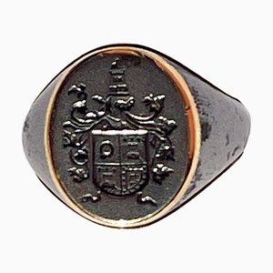 Portugiesischer Siegelring mit Wappen aus Stahl und Gold